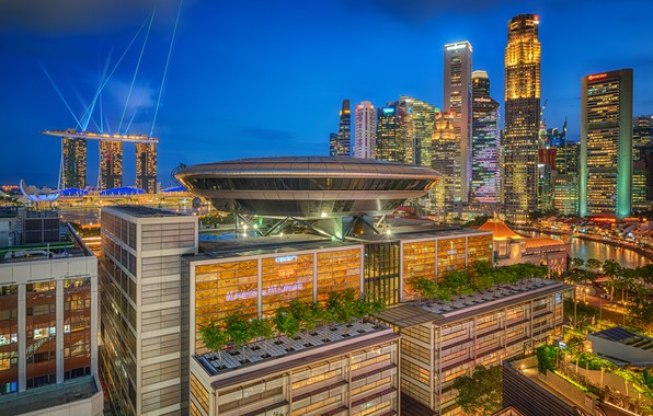 Picture building, home, Singapore, night city, skyscrapers, Singapore