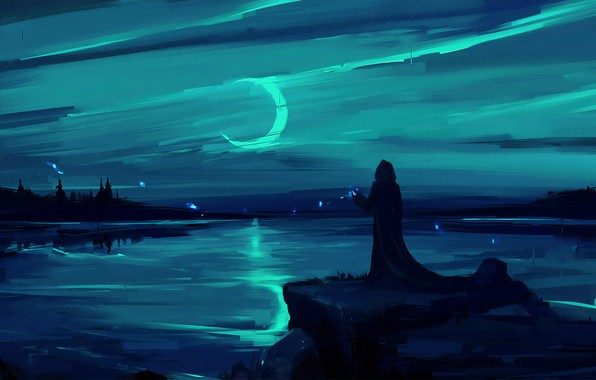 Picture moon, fantasy, magic, landscape, night, figure, lake, man, painting, digital art, artwork, environment, fantasy art, …