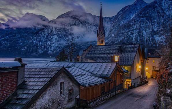 Picture winter, clouds, snow, mountains, night, fog, lake, street, tower, morning, Austria, lighting, lights, town, rasvet, …