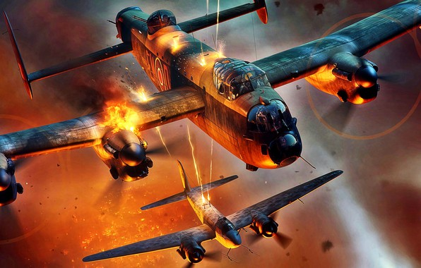 Picture fire, The second World war, Lancaster, heavy bomber, Avro, night bombing of Germany, Ju-88R-2, heavy …