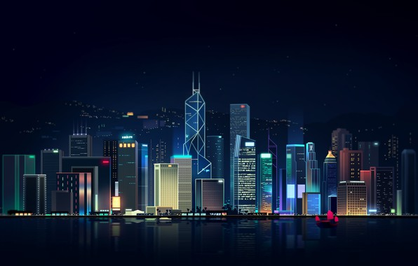 Picture Reflection, Sea, Hong Kong, Night, Vector, The city, Neon, Ship, Light, Style, Building, China, Architecture, …