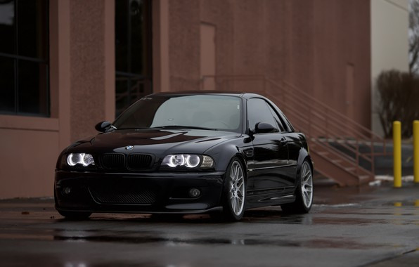 Picture BMW, Black, Water, E46, Puddle, Angel Eye