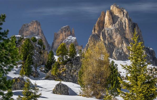 Picture winter, the sky, the sun, snow, trees, stones, rocks, Alps, Italy, Trentino, Canazei