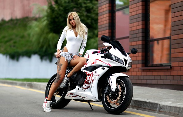 Picture girl, pose, shorts, tattoo, motorcycle, Alexander Isaev