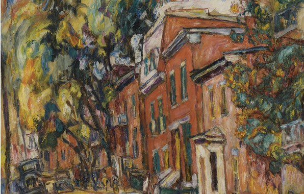 Picture watercolor, Abraham Manievich, RED BUILDINGS oil on canvas