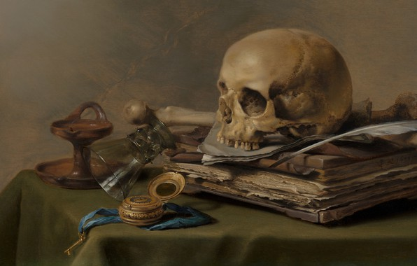 Picture Peter., Dutch artist, 1630, Dutch Golden Age painter, Pieter Claesz, Vanitas still life, oil on …