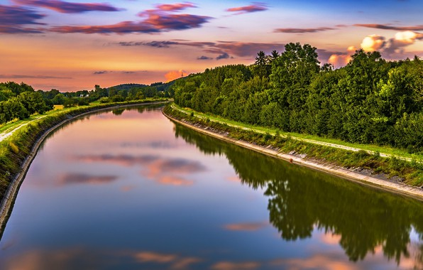 Picture summer, the sky, trees, sunset, nature, river, height