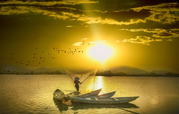 Picture the sun, clouds, light, sunset, mountains, birds, network, rendering, fishing, pack, boats, hat, China, Asia, …