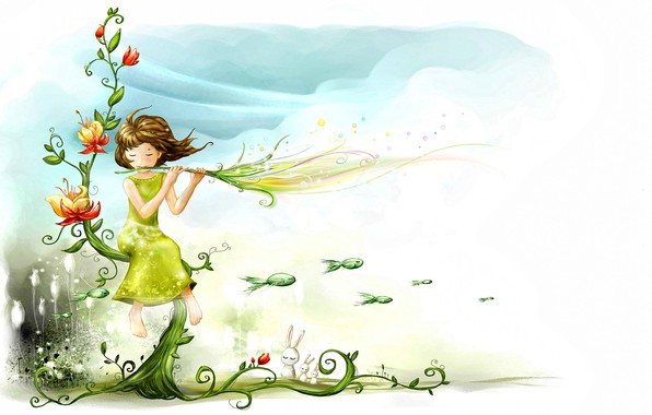 Picture the sky, water, flowers, background, fantasy, mood, ease, spring, art, the air, girl, picture, weightlessness, …