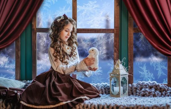 Picture toy, rabbit, window, frost, girl, lantern, plaid, Bunny, bow, curls, on the windowsill, Диана Липкина