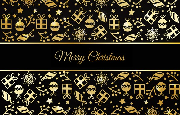 Picture decoration, gold, pattern, New Year, Christmas, golden, black background, Christmas, background, pattern, New Year, decoration, …