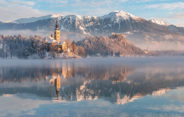 Picture winter, mountains, lake, reflection, Church, Slovenia, Lake Bled, Slovenia, Lake bled, Bled, Assumption of Mary …