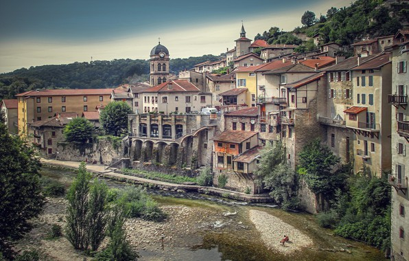 Picture river, France, building, home, France, Pont-EN-Royans, Pont-en-Royans