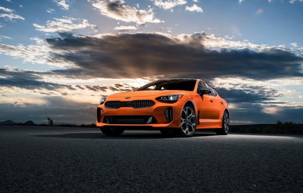 Picture clouds, orange, Kia, GTS, the five-door, Stinger, 2020, fastback