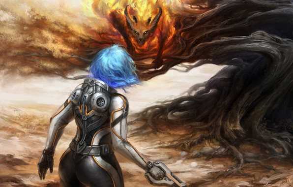 Picture look, girl, fiction, back, the demon, art, costume, Sci-Fi