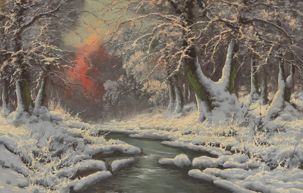 Picture Winter forest, Laszlo Neogrady, Hungarian painter, Laszlo Nogradi, Hungarian painter, Winter Forest