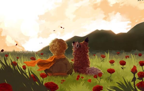 Picture fox, field, landscape, art, flowers, mountains, painting, child