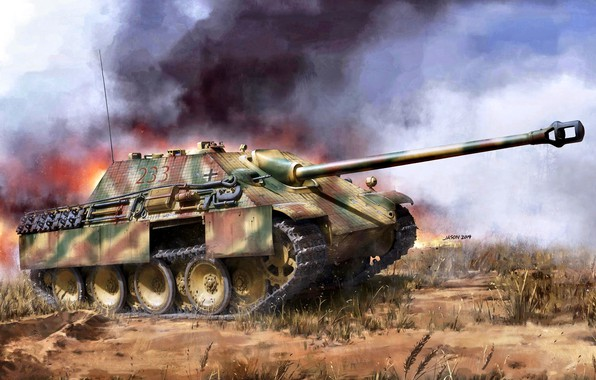 Picture Grass, Smoke, SAU, Jagdpanther, Tank fighter, The Wehrmacht, Zimmerit, Heavy