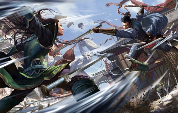 Picture fantasy, armor, katana, houses, battle, weapons, digital art, buildings, artwork, warriors, Samurai, swords, fantasy art