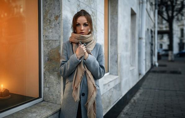 Picture autumn, street, the building, Girl, window, coat, Alexander Kurennoy