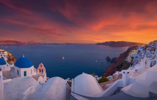 Picture sea, sunset, building, home, Santorini, Greece, Church, Santorini, Oia, Greece, The Aegean sea, Aegean Sea
