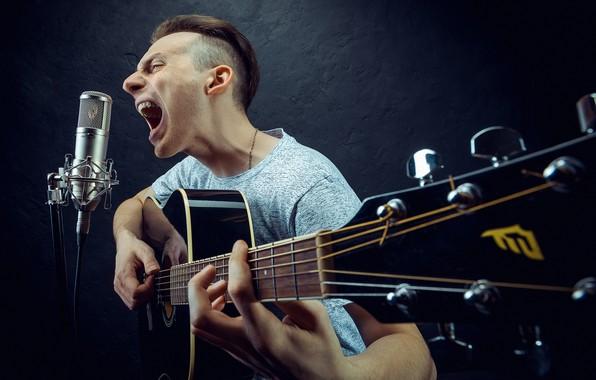 Picture guitar, microphone, guy, roarer