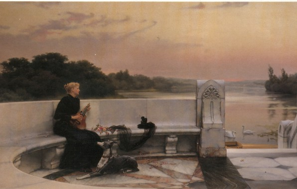 Picture Solitude, a woman and a musical instrument, PIETER HAAXMAN
