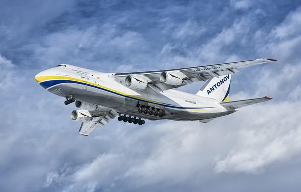 Picture The plane, Ukraine, Landing, An-124, Ruslan, Chassis, An-124-100, ANTK imeni O. K. Antonova, Military transport ...