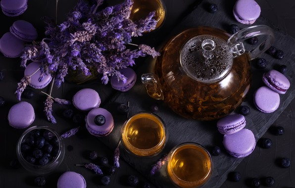 Picture tea, kettle, Cup, lavender, blueberries
