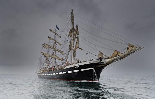 Picture sea, fog, ship, sailboat