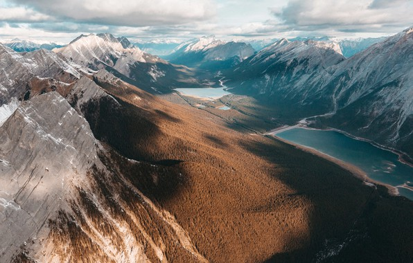 Picture clouds, mountains, valley, forest, lake