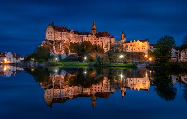 Picture night, rock, reflection, river, castle, Germany, lights, Germany, Baden-Württemberg, Baden-Württemberg, Sigmaringen Castle, Danube River, Sigmaringen, …