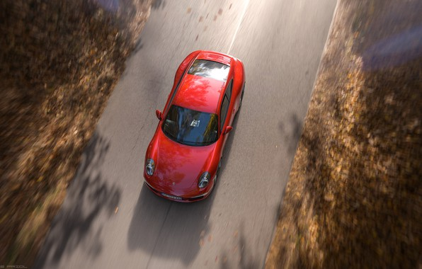 Picture Red, Auto, Road, Porsche, Machine, Red, Carrera, Rendering, Sports car, Porsche 911 Carrera, Transport & …