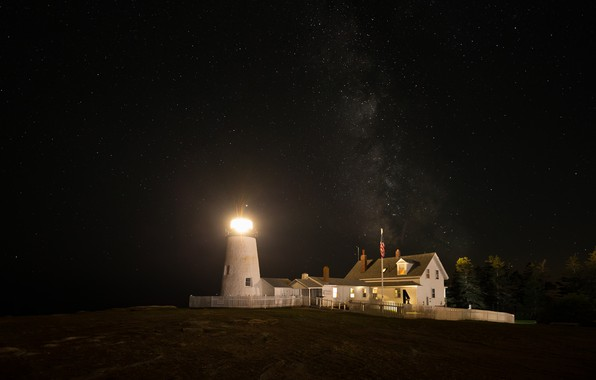 Picture the sky, stars, light, trees, night, bright, lights, house, darkness, shore, the fence, lighthouse, lighting, ...