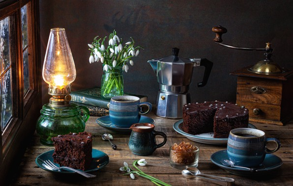 Picture flowers, style, books, lamp, snowdrops, cake, sugar, mugs, coffee maker, coffee grinder, coffee pot