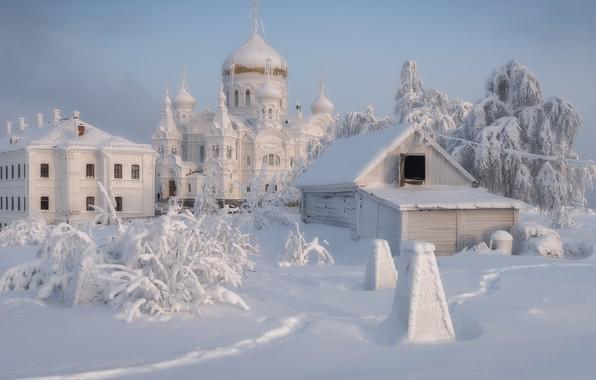 Picture winter, snow, landscape, temple, the monastery, dome, Perm Krai