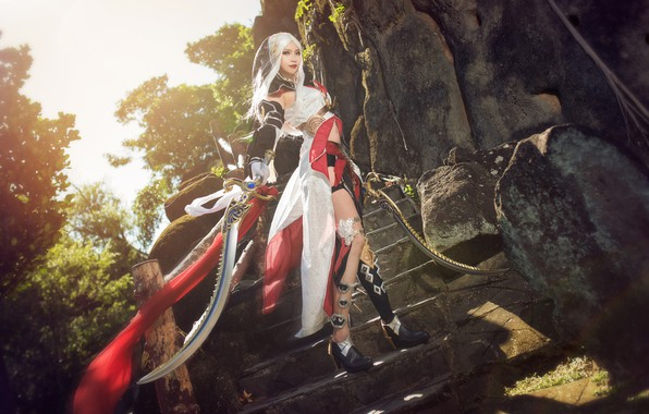 Picture look, girl, light, trees, nature, pose, style, stones, weapons, feet, sword, figure, blonde, costume, ladder, …