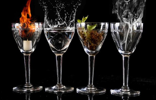 Picture water, fire, glasses