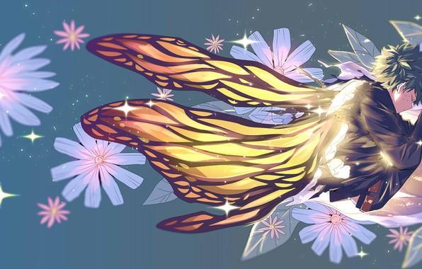 Picture flowers, butterfly, wings, guy, Boku no Hero Academy, Midori Isuku, My heroic academia, Izuku Midoriya