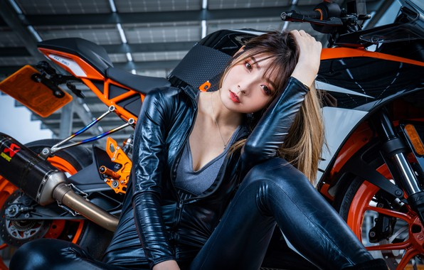 Picture look, pose, model, portrait, makeup, hangar, hairstyle, costume, motorcycle, brown hair, bike, Asian, sitting, on …