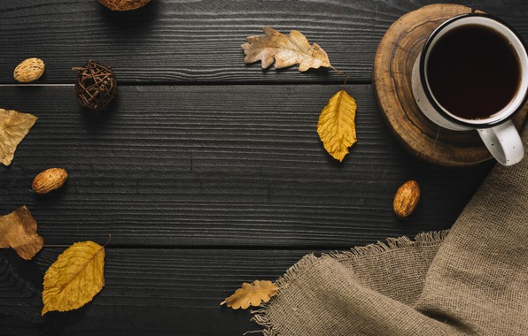Picture autumn, leaves, background, tree, coffee, colorful, mug, Cup, vintage, wood, background, autumn, leaves, cup, coffee