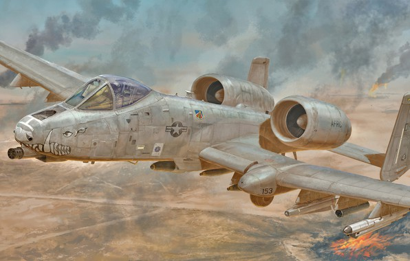 Picture art, airplane, aviation, jet, a10 thunderbolt 2