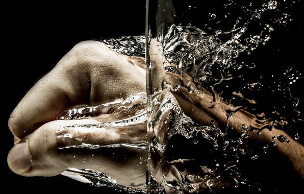 Picture water, squirt, hand, fist