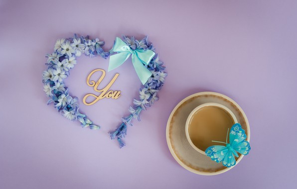 Picture love, flowers, butterfly, heart, love, heart, blue, butterfly, flowers, romantic, forget-me-nots, coffee cup, a Cup …