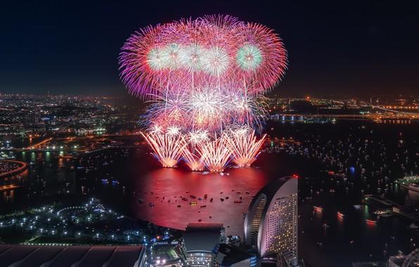 Picture japan, fireworks, yokohama