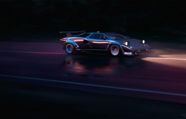 Picture Lamborghini, Background, 80s, Neon, Countach, Lamborghini Countach, LP5000, 80's, Synth, Retrowave, Mikhail Sharov, Synthwave, New …