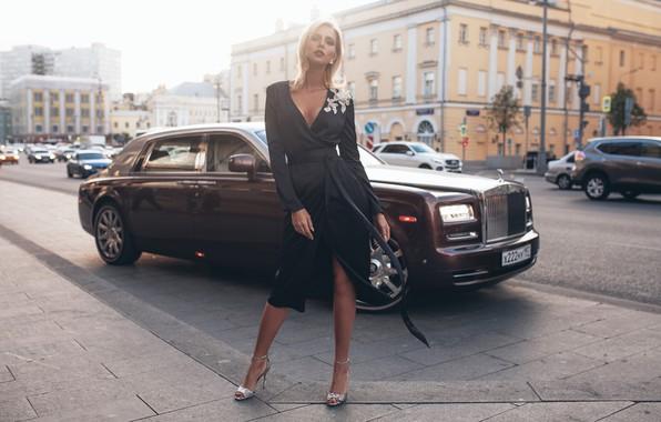 Picture machine, auto, girl, pose, style, model, Rolls-Royce, dress, Rome Rome, Oksana Streltsova