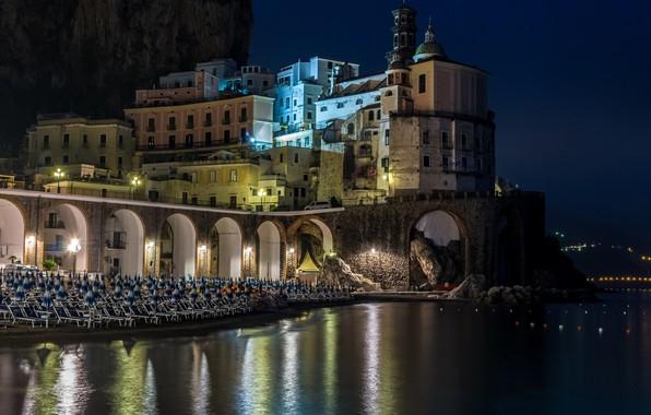 Picture city, lights, house, beach, sea, landscape, Italy, Campania, Amalfi, night, street, building, cityscape, dome, church