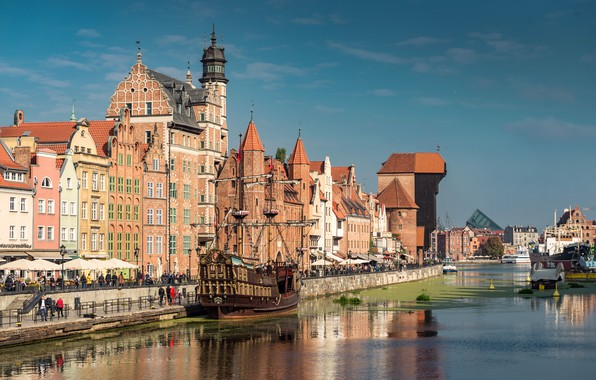 Picture building, home, area, Poland, fountain, architecture, Poland, Gdansk, Gdansk, The Fountain Of Neptune, The Artus …