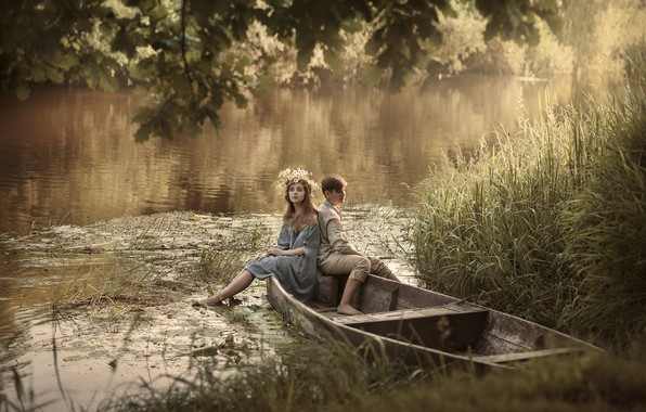 Picture summer, girl, trees, nature, river, boat, pair, guy, grass